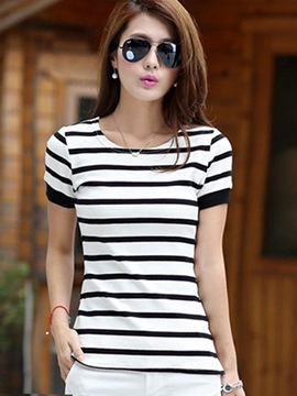 Ericdress Slim Stripe Scoop Short Sleeve Tee Shirt