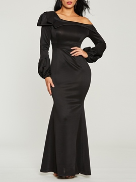 Ericdress Black Lantern Sleeve Mermaid Women's Maxi Dress