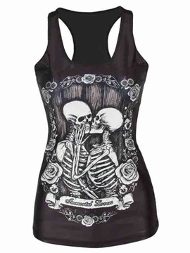 Ericdress Skull Print I-Shaped Slim Vest