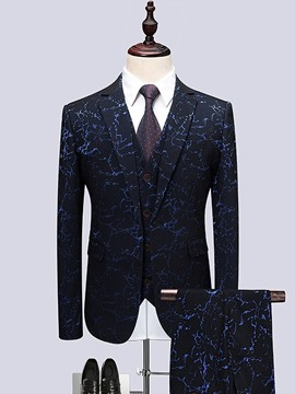 Ericdress Print Blazer Pants Vest Mens 3 Piece Suit