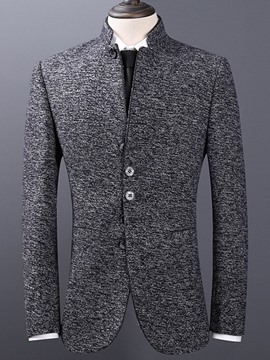 Ericdress Plain Stand Collar Slim Fit Mens Jacket Blazer