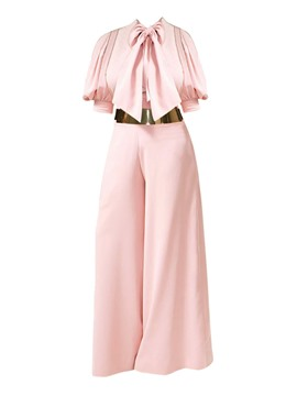 Women's Clothing Pink Wide Leg Bowknot Jumpsuit