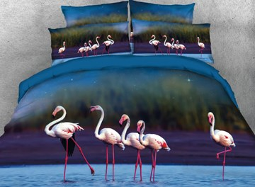 Vivilinen 3D A Group of Flamingos Stand on the Water Printed 4-Piece Blue Bedding Sets/Duvet Covers