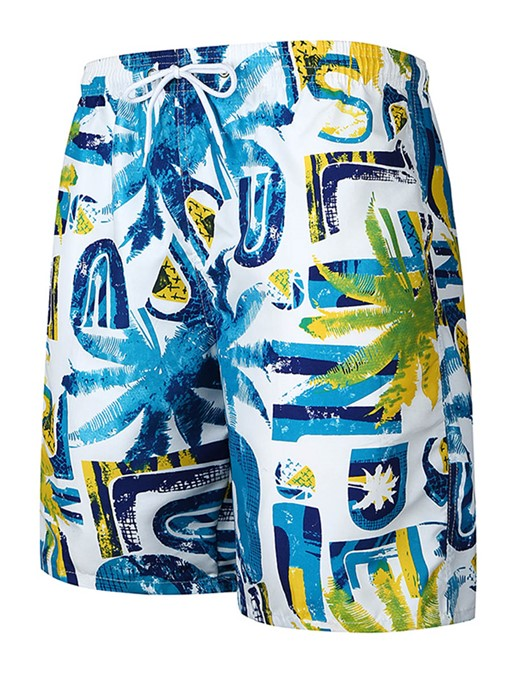 Ericdress Print Color Block Mens Casual Swim Beach Shorts