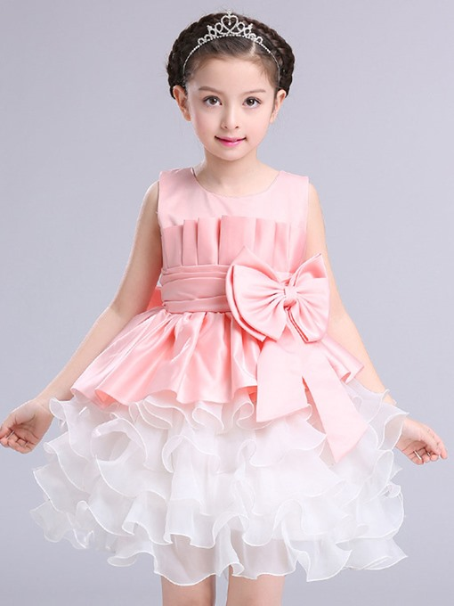 Ericdress Color Block Mesh Lace Girl's Layered Dress