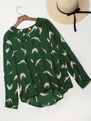 Ericdress V-Neck Print Animal Slim Long Sleeve Blouse