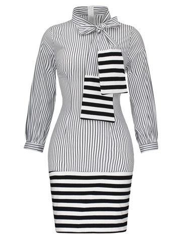 Ericdress Stripe Tie-Neck Long Sleeve Bow Women's Bodycon Dress