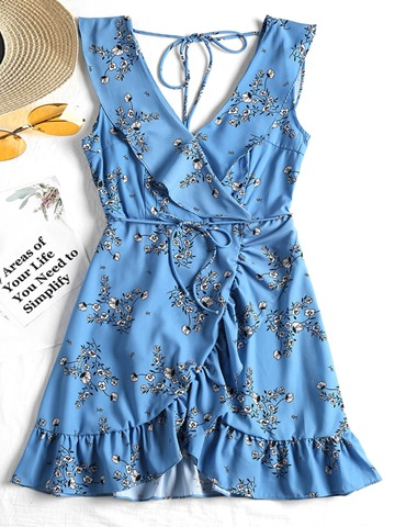 Ericdress V Neck Sleeveless Ruffle Print Women's Day Dress