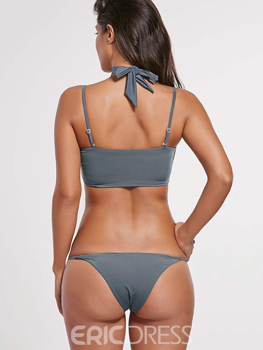 Ericdress Plain Lace-Up Bowknot Tie Front Plain Bikini Bathing Suits