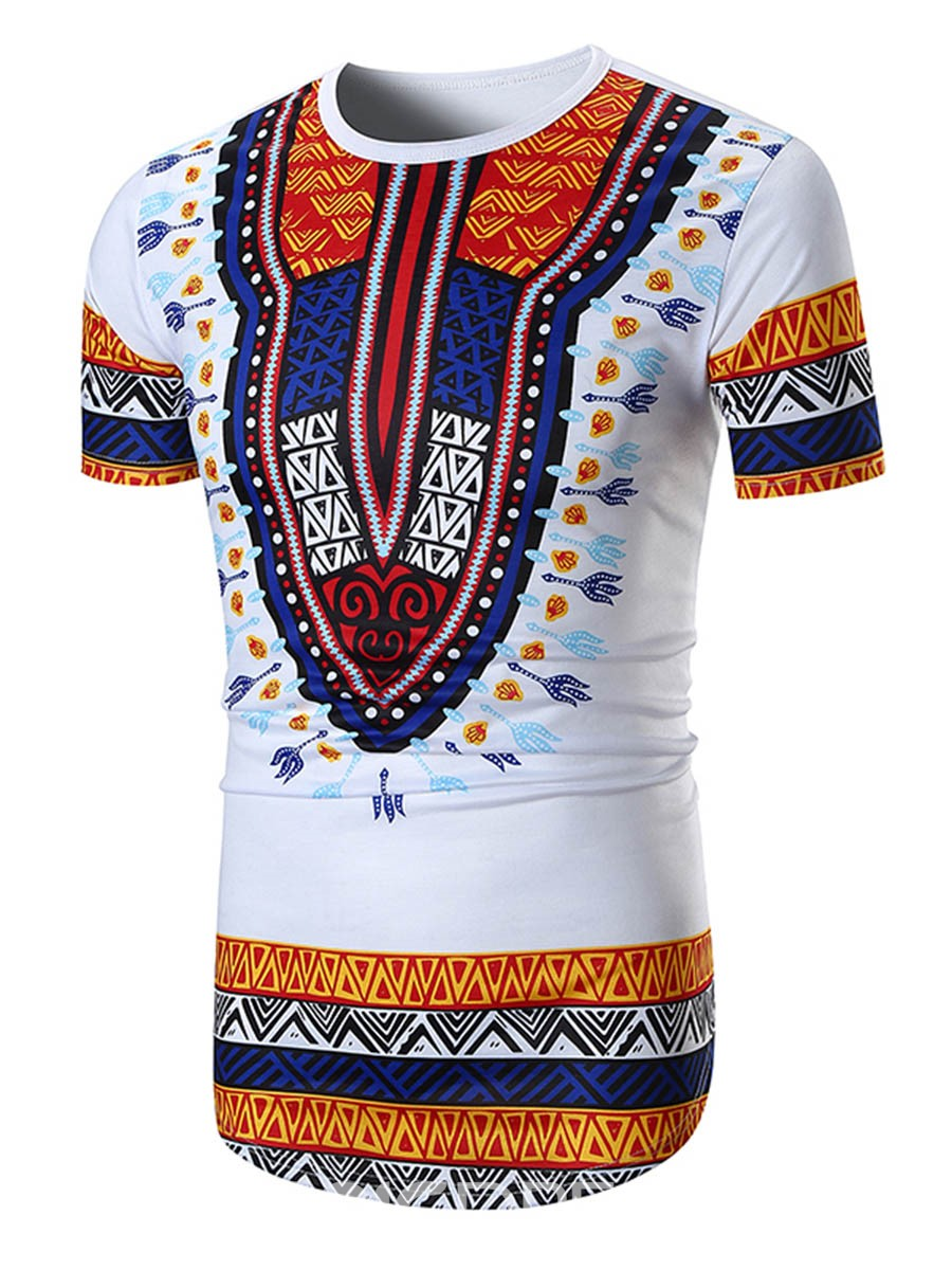 Ericdress Round Neck Short Sleeve Dashiki African Print Men's T-shirt