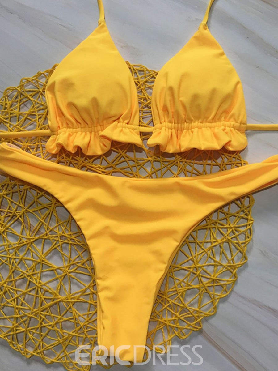 Ericdress High Legs Yellow Plain Pleated Lace-Up Sexy 2-Pcs Bikini Bathing Suits