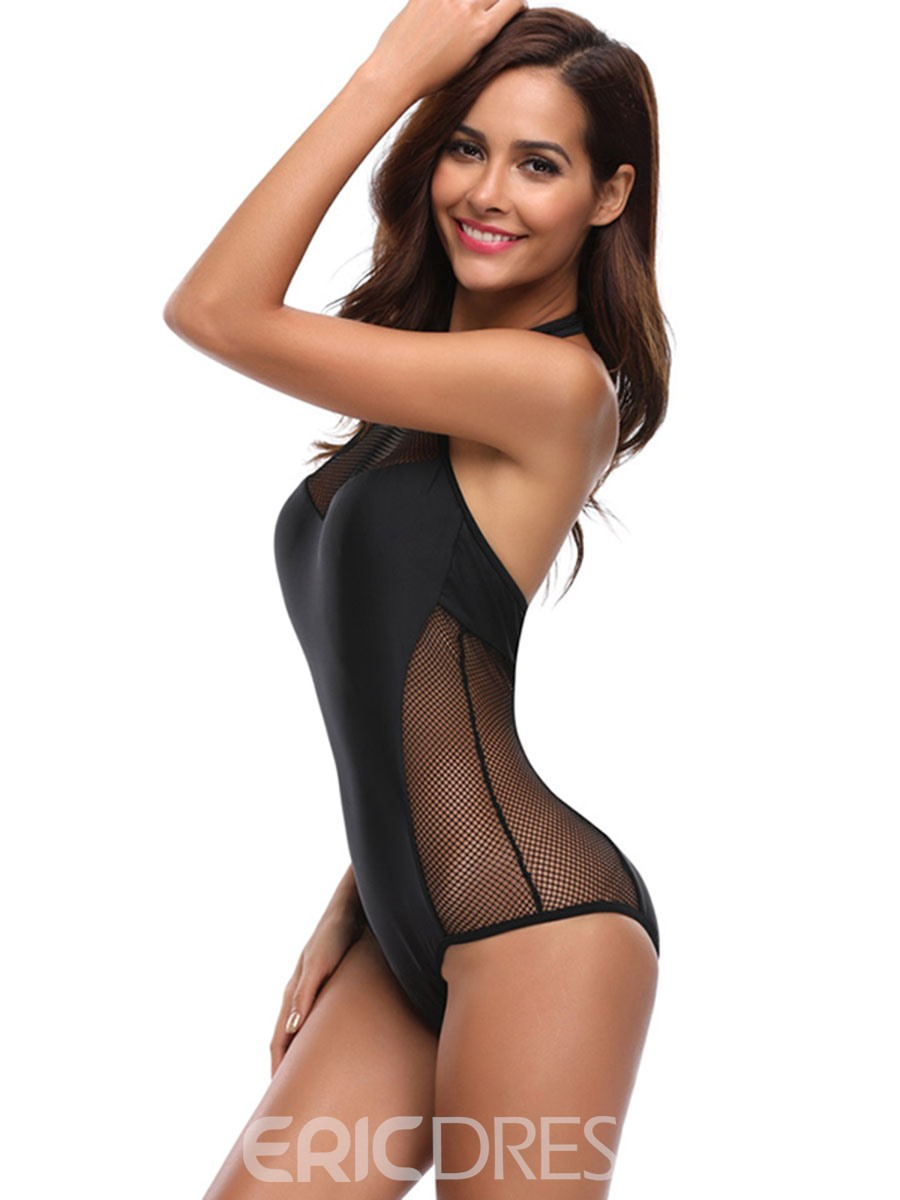 Ericdress Black Plain Mesh Patchwork One Piece Bathing Suits