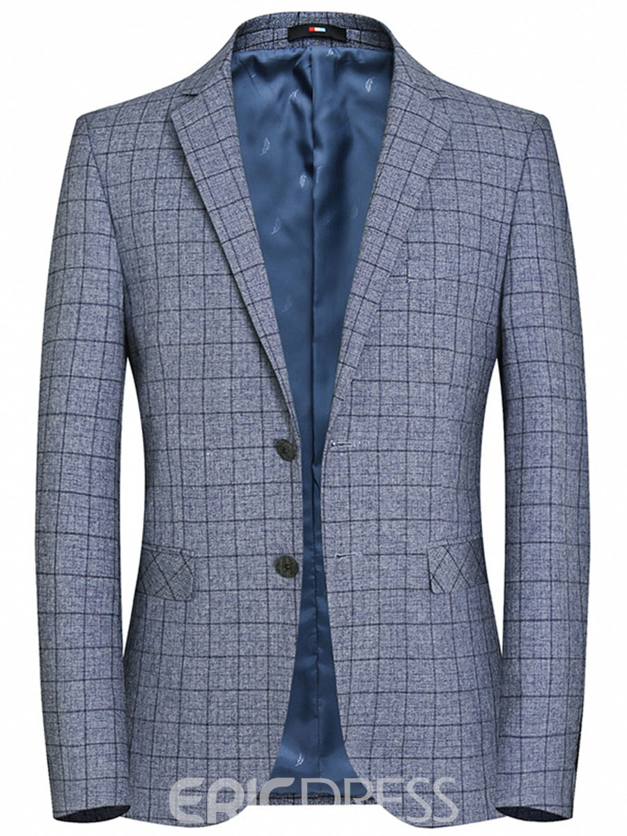 Ericdress Slim Fit Plaid Mens Casual Blazer Jacket