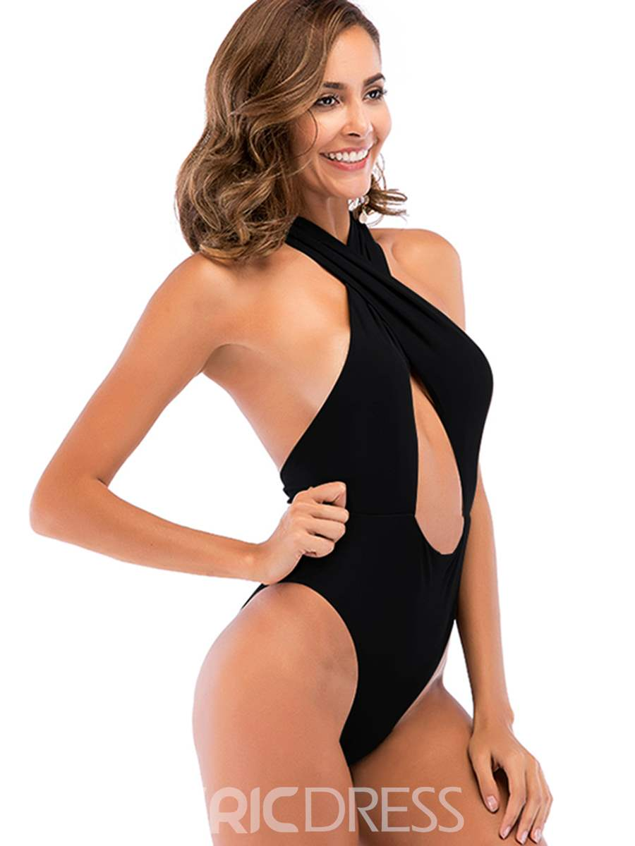 f4dee7e2950 ... Ericdress Plain Halter Lace-Up Sexy Hollow One Piece Swimwear Monokini  ...