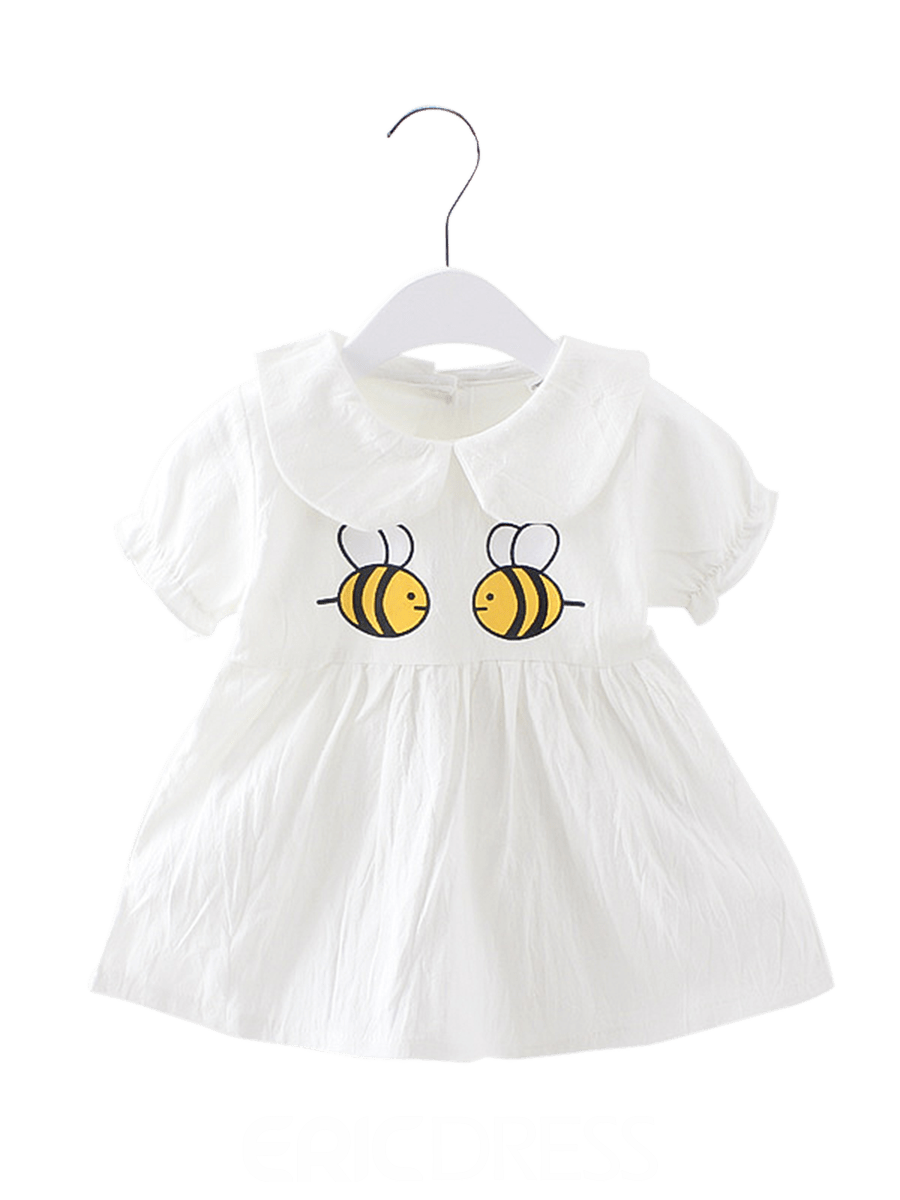Ericdress Bee Cartoon Print Peter Pan Collar Baby Girl's Dress