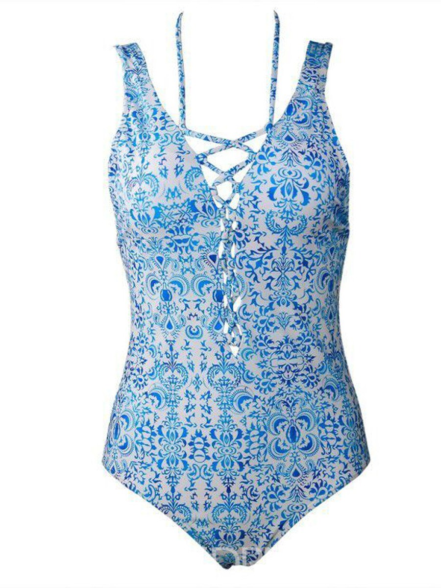 Ericdress Floral Lace-Up One Piece Bathing Suits
