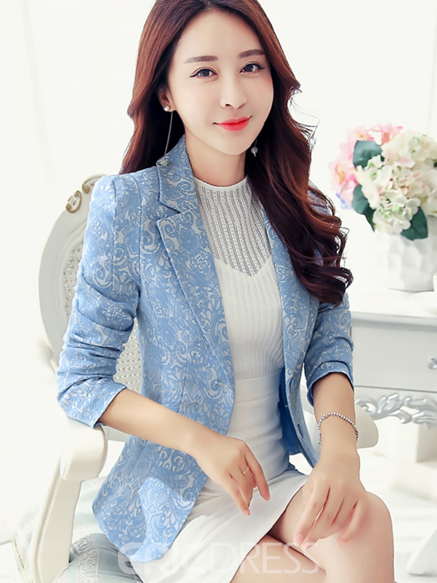 Ericdress Single-Breasted Notched Lapel Long Sleeve Blazer