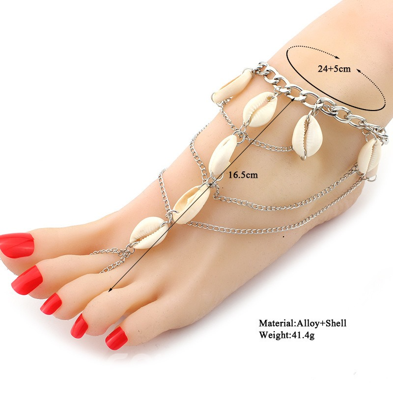 Ericdress Natural Conch Multilayer Alloy Chain Anklet For Women