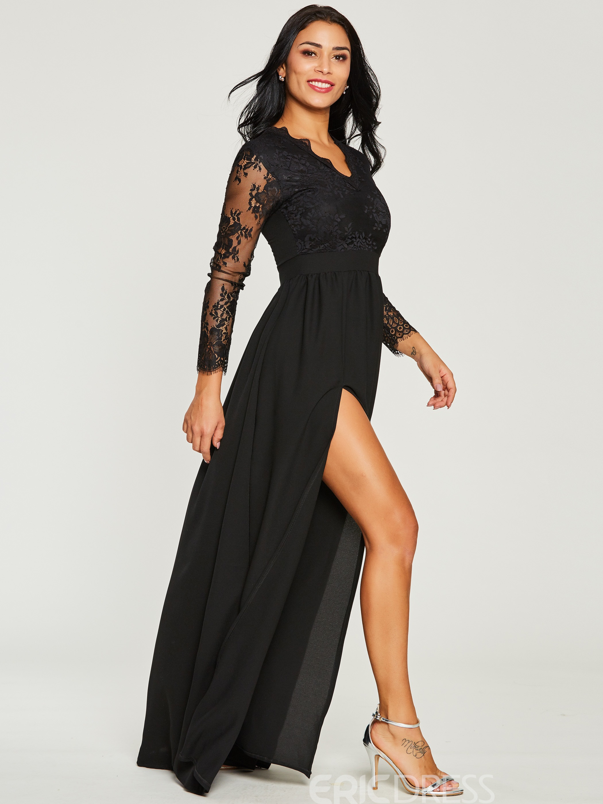 ericdress v-cou patchwork pull femme maxi robe