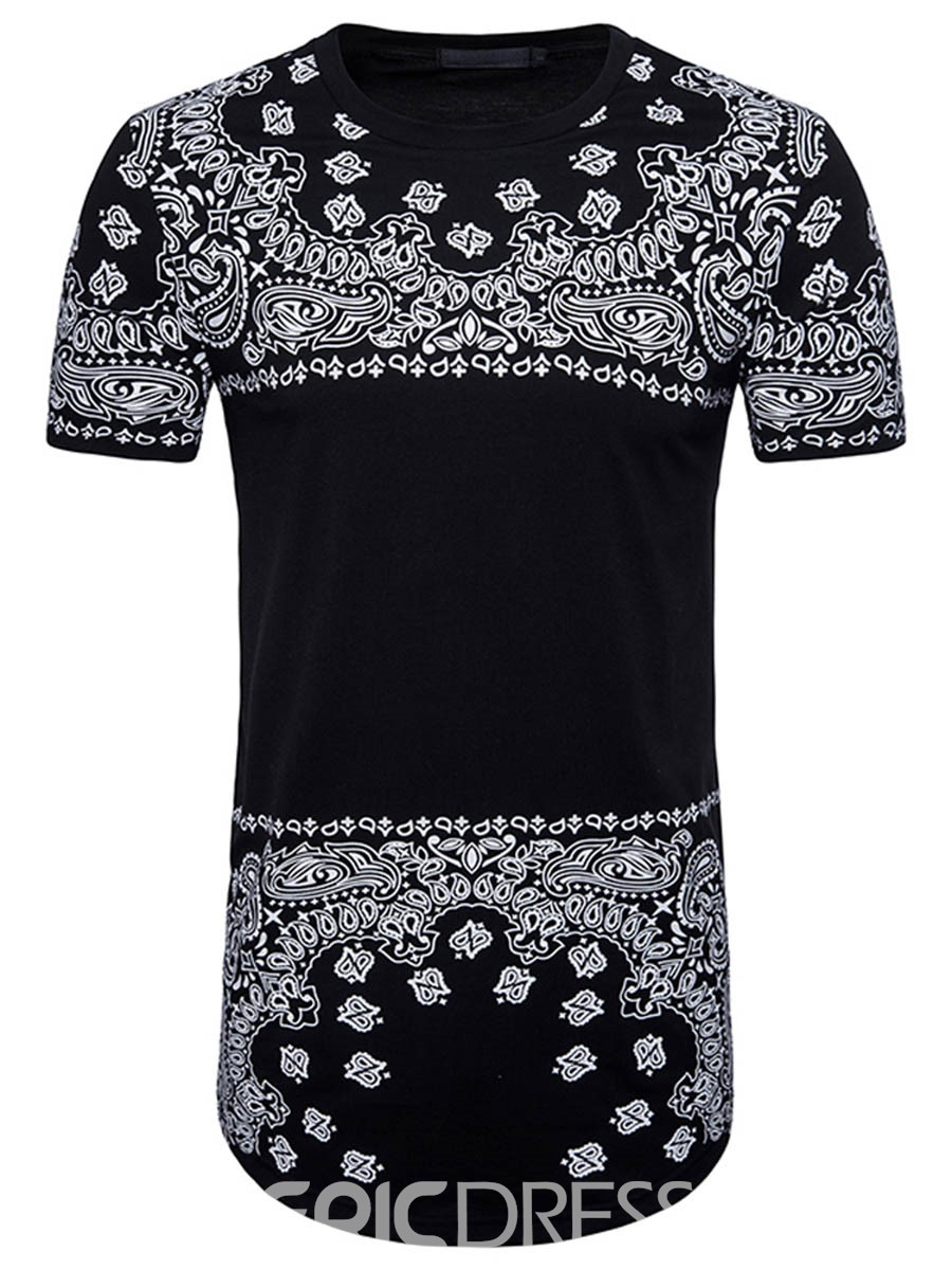 Ericdress Print Slim Fit Mid-Length Mens Summer T Shirt