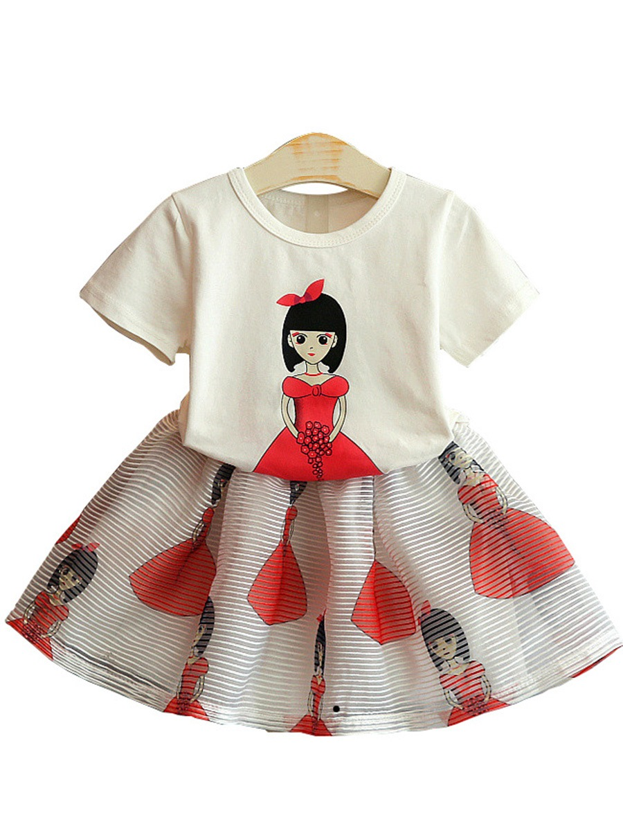 Ericdress Cartoon Stripe Print T Shirt & Skirt Girl's Outfits