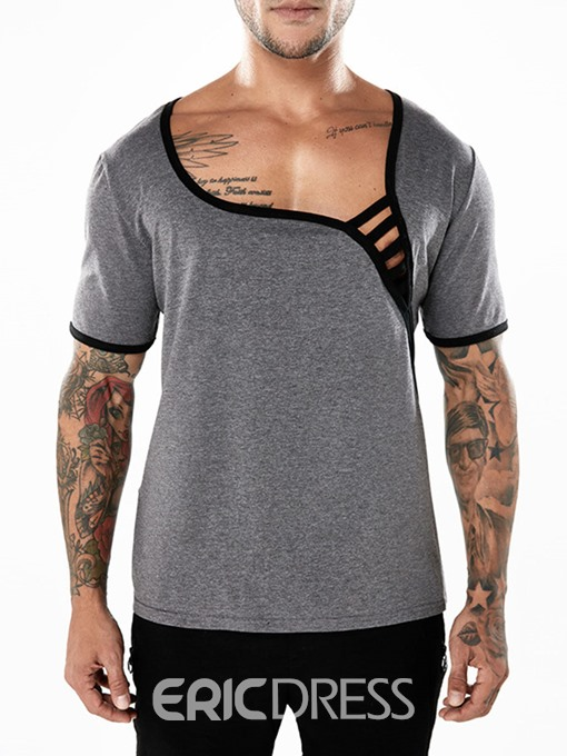 Ericdress Plain Unique Designed Mens T Shirts