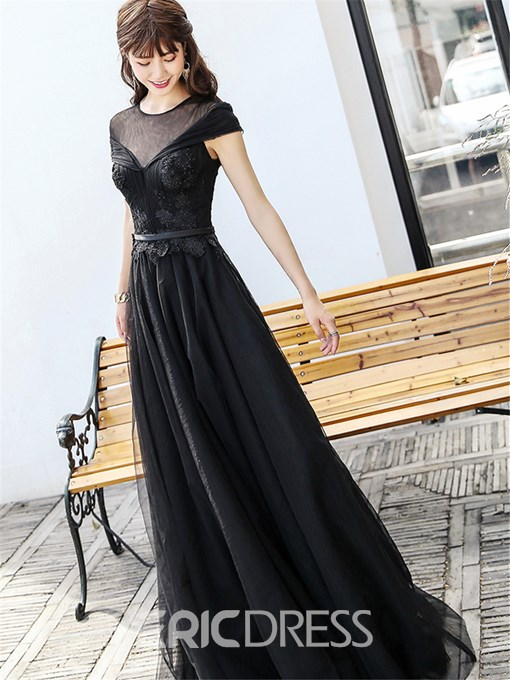 Ericdress A Line Cap Sleeve Applique Black Prom Dress