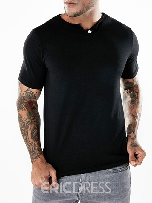 Ericdress Plain Button Mens Basic Summer T Shirt