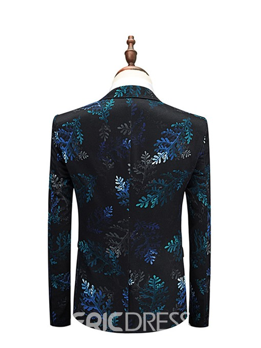 Ericdress Leaf Print One Button 3 Piece Mens Casual Suit