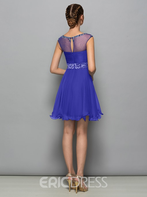 Ericdress Bateau Neck Beading Short Cocktail Dress