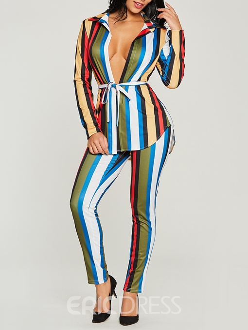 Ericdress Stripe Lace-Up Shirt and Pants Women's Two Piece Set