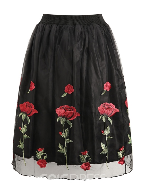 Ericdress Ankle-Length Floral Embroidery A-Line Women's Skirt