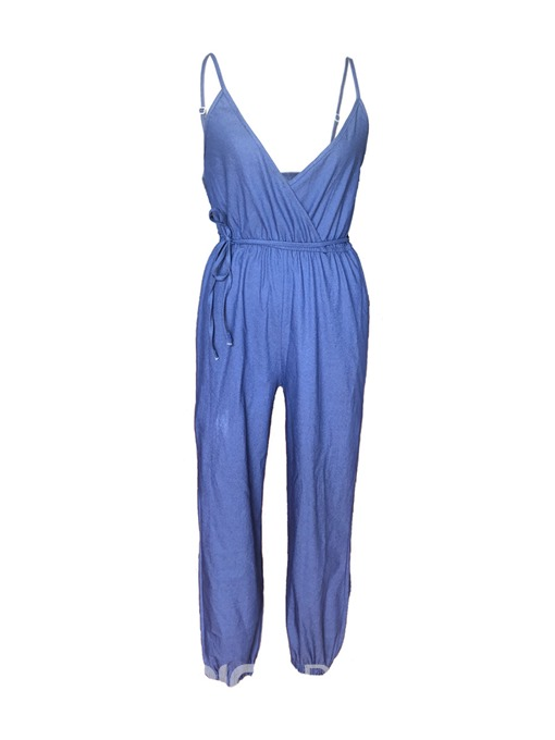 Ericdress Strap Denim Plain Women's Jumpsuit