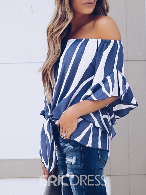 Ericdress Stripe Slash Neck Three-Quarter Sleeve Standard Blouse