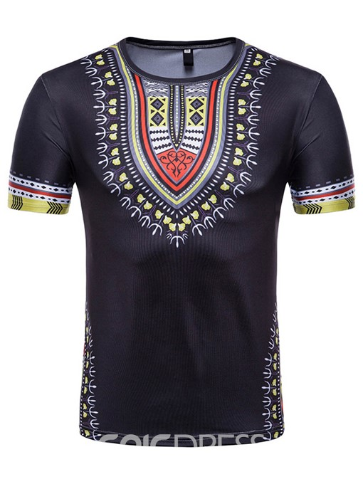 Ericdress Dashiki Afican Print Mens Summer T Shirt