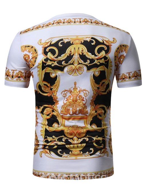 Ericdress Floral Print Color Block Mens Summer T Shirt