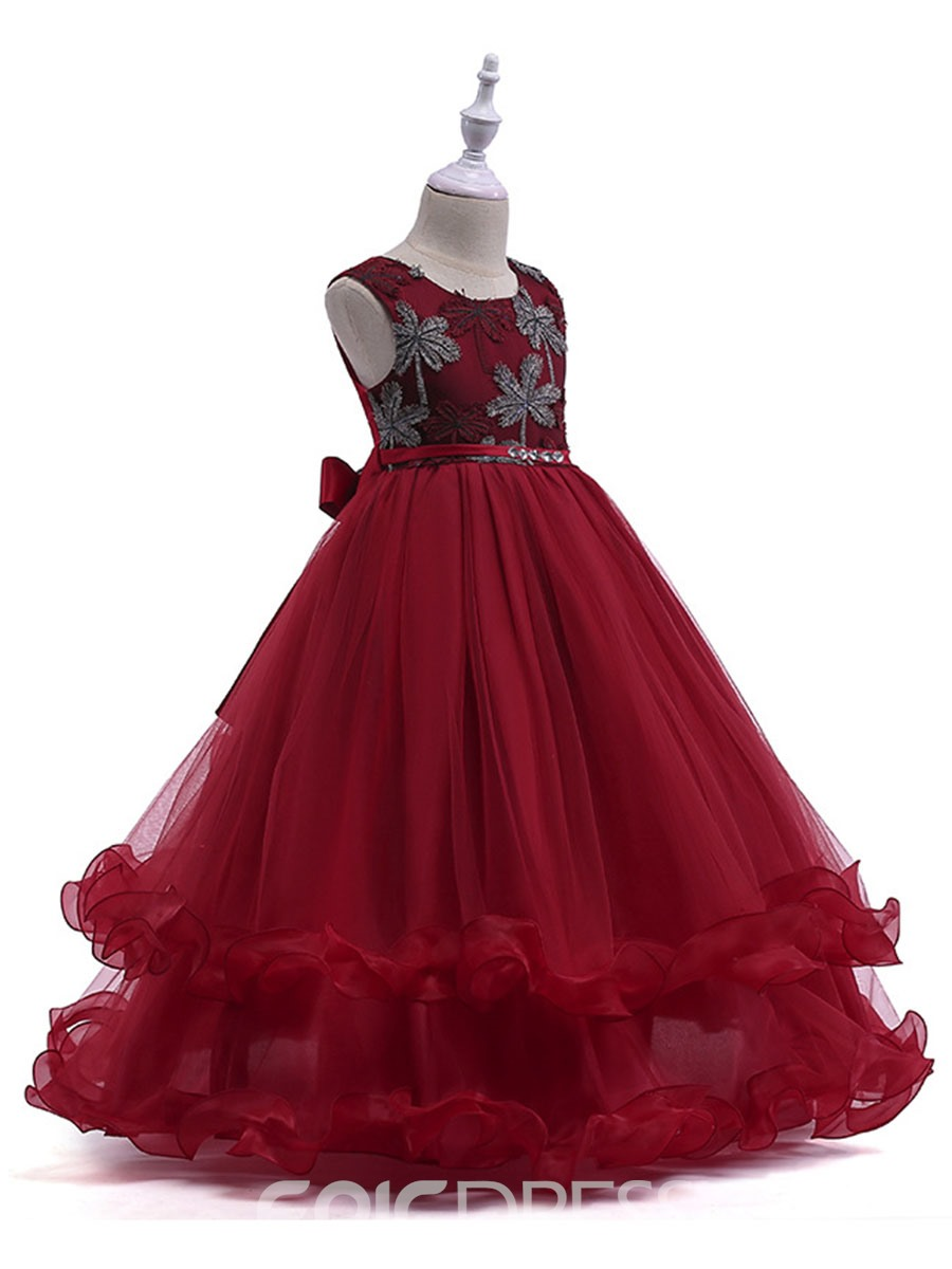 Ericdress Embroidery Appliques Sequins Girl's Layered Ball Dress