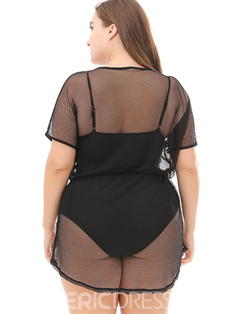 Ericdress Plus Size Black See-Through Vocation Beach Dress