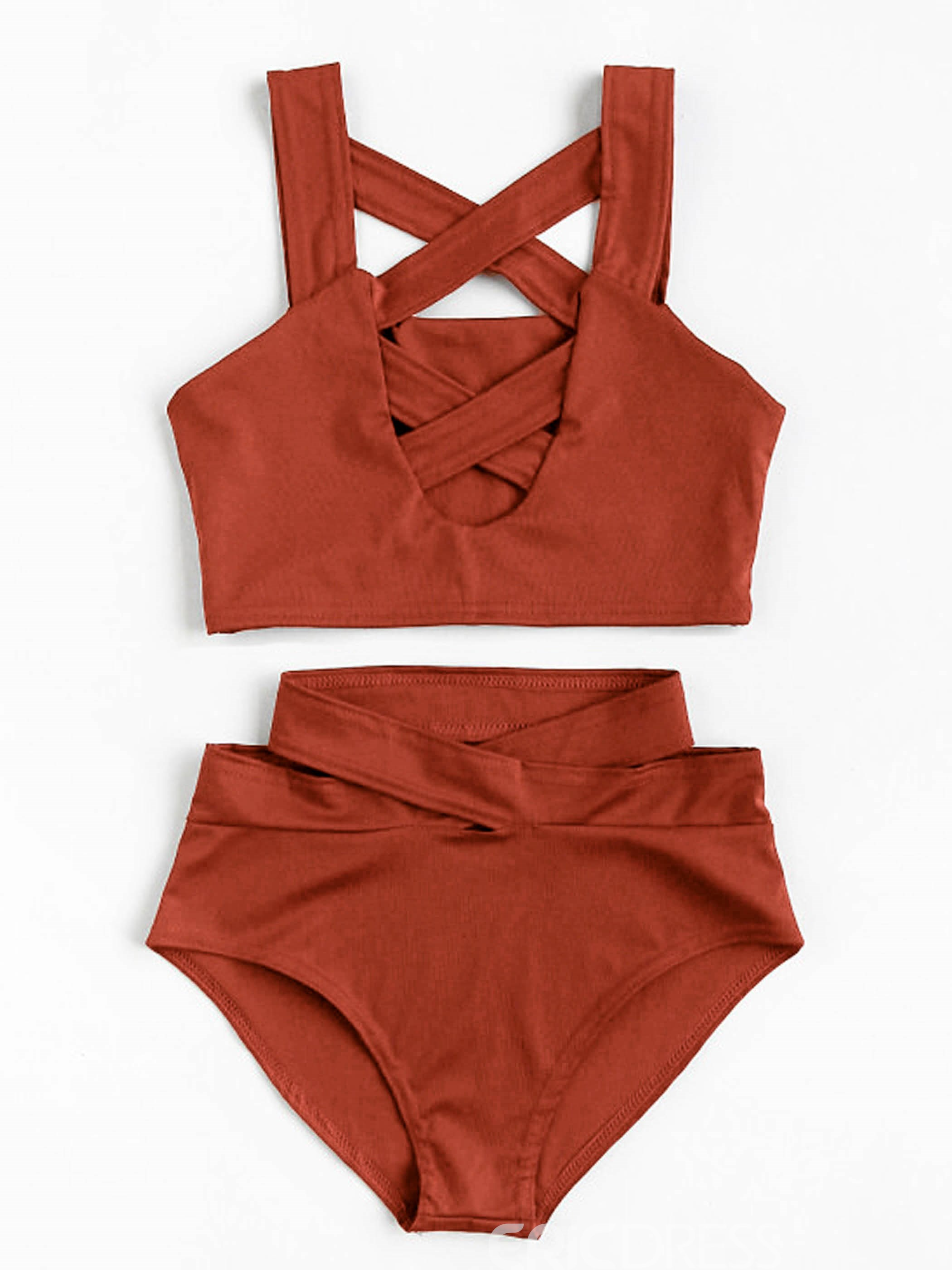 Ericdress Vogue Cross Strap Mid-Waist Bikini Set