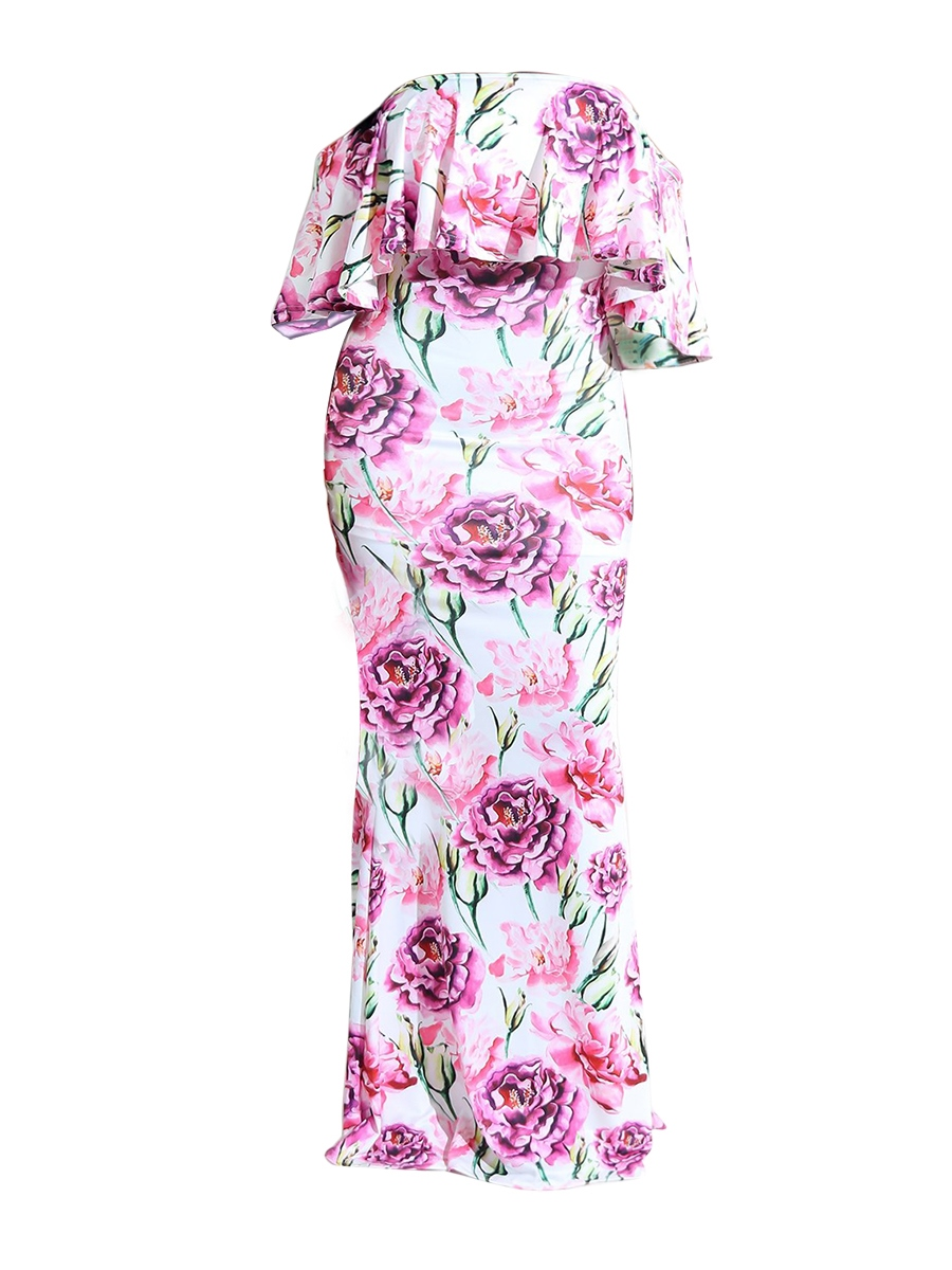 Ericdress Floral Strapless Half Sleeves Bodycon Dress