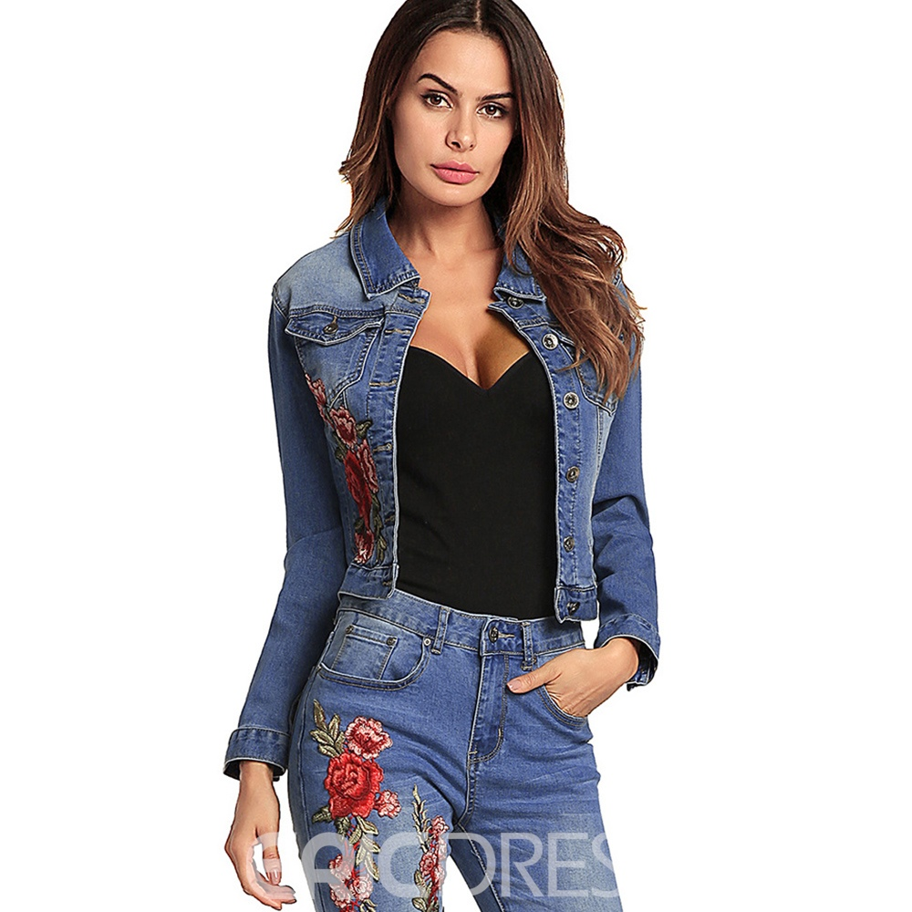 Ericdress Slim Lapel Single-Breasted Embroidery Jacket