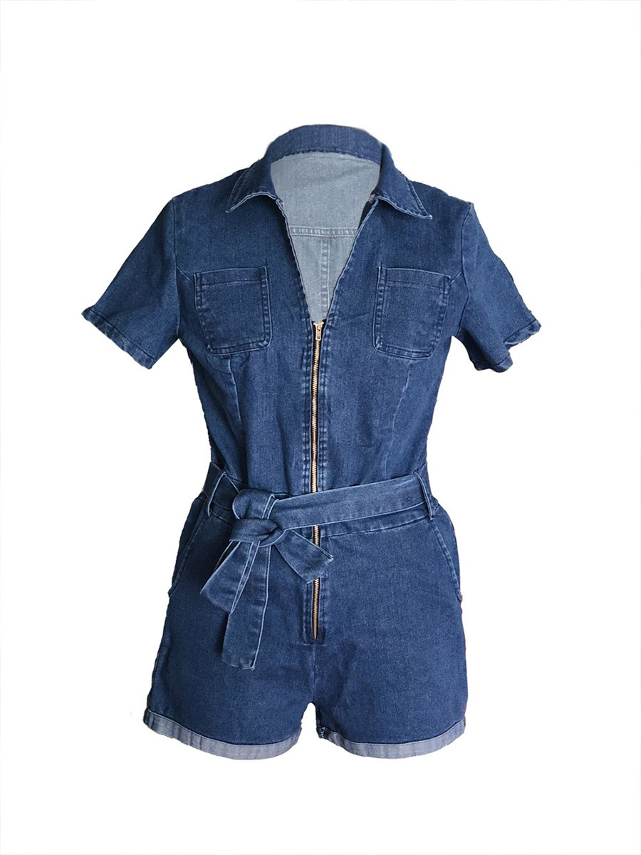 Ericdress Bowknot Denim Women's Rompers