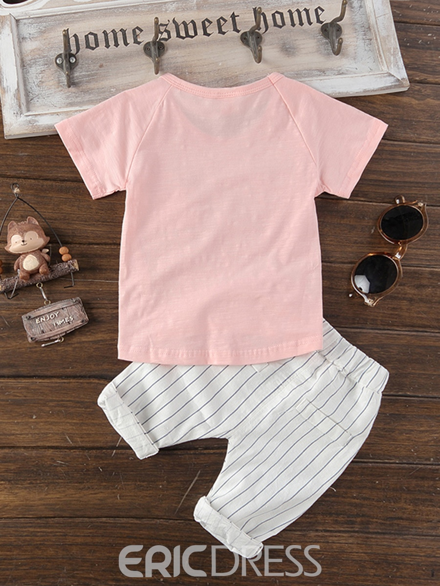 Ericdress Plain Pocket T Shirt Stripe Shorts Baby Boy's Outfits