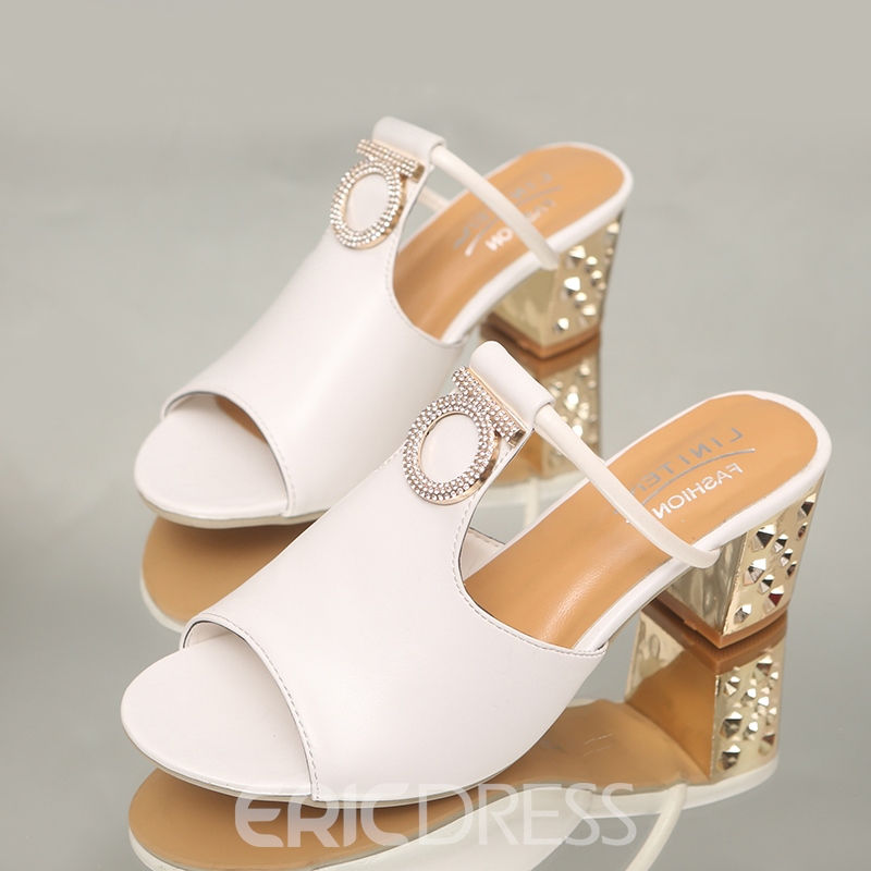 Ericdress Rhinestone Flip Flop Plain Chunky Heel Mules Shoes