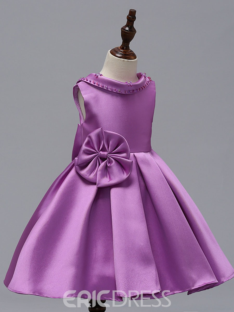 Ericdress Backless 3D Pleated Bowknot Patchwork Girl's Ball Dress