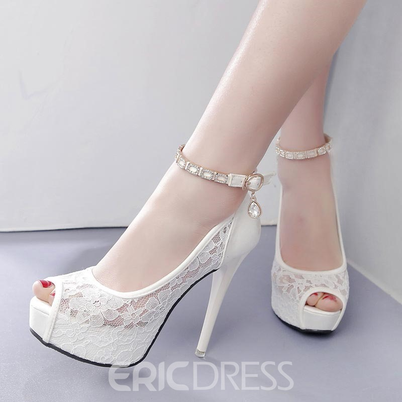 Ericdress Lace Patchwork Plain Peep Toe Stiletto Heel Pumps ...