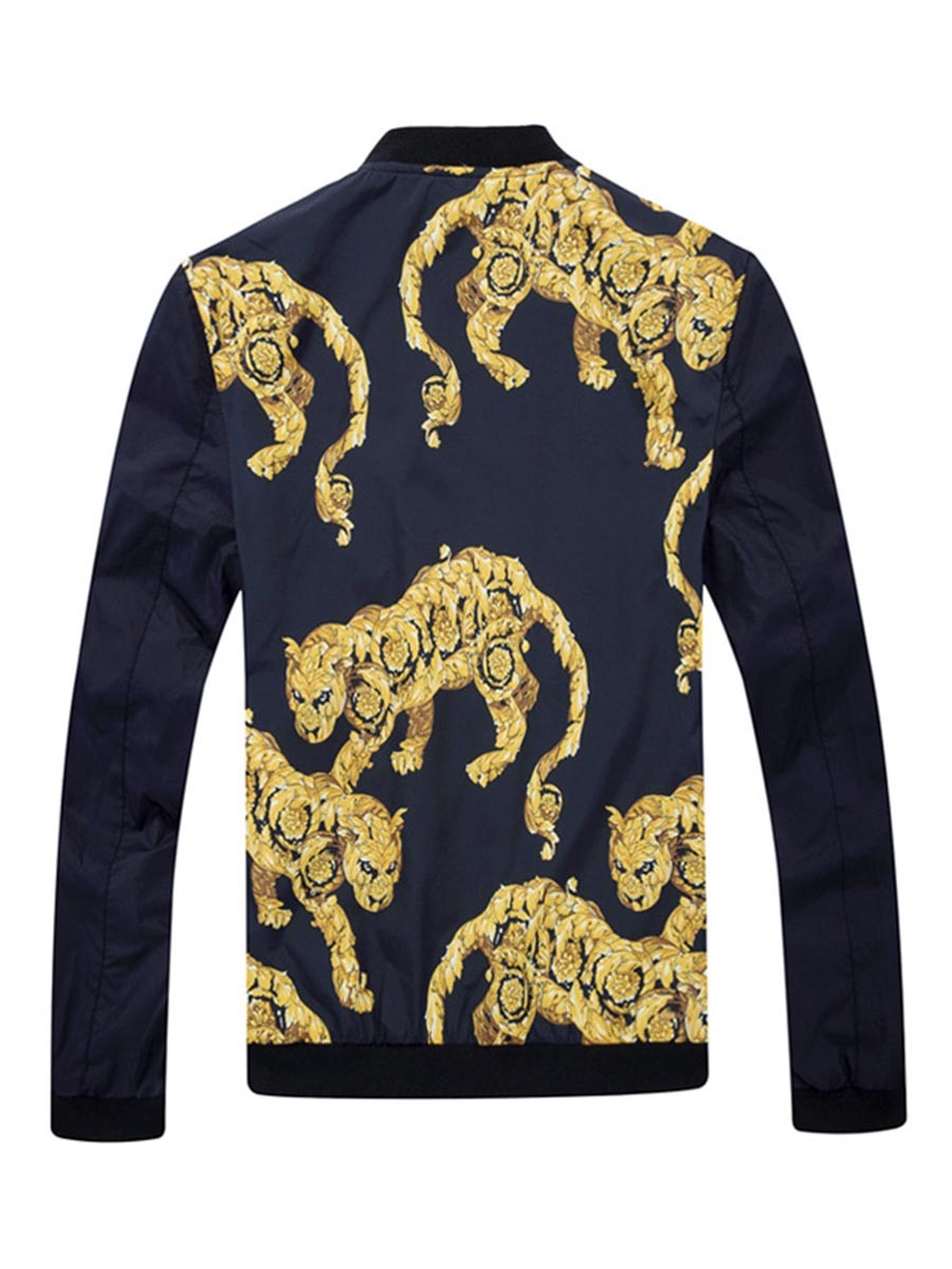 Ericdress Animal Printed Color Block Slim Mens Casual Jacket