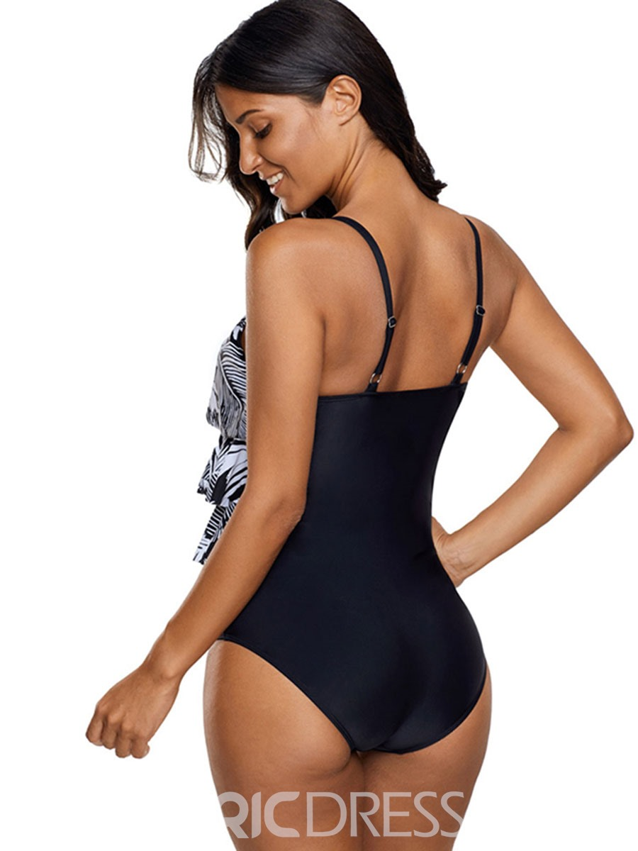 Ericdress Floral Ruffles One Piece Bathing Suits