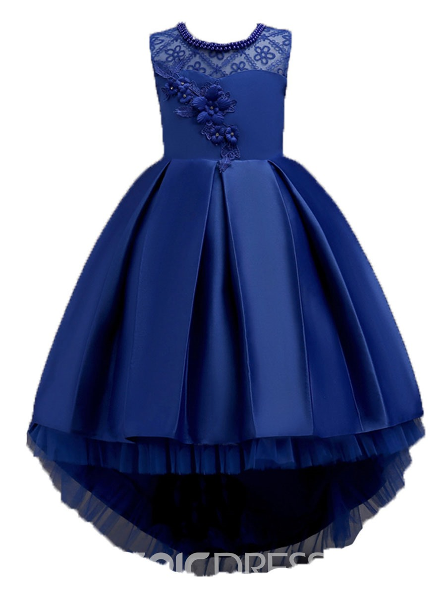 Ericdress Asymmetric Pleated Mesh Girl's Ball Dress With Bowknot