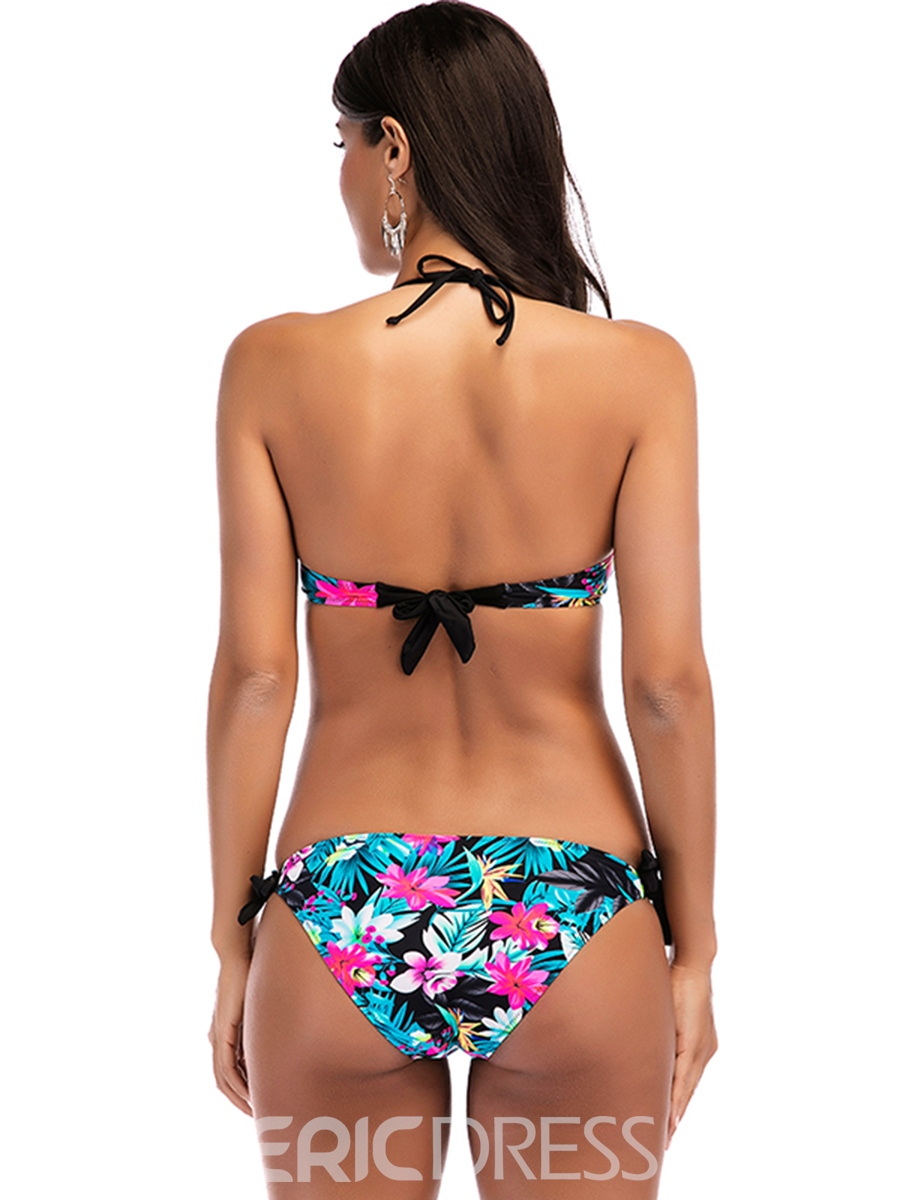 Ericdress Halter Floral Lace-Up Sexy 2-Pcs Bikini Bathing Suits